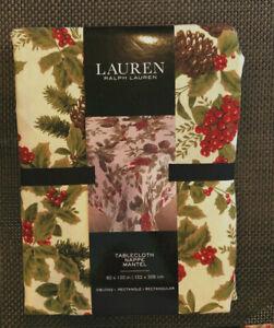 "Ralph Lauren BIRCHMONT CREAM 60 x 120"" Holly Berries & Pinecones Tablecloth--NWT"