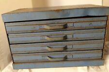 Vtg old Metal tin Storage Box Industrial Tool small Parts Bin Cabinet organizer