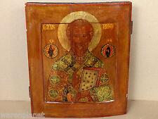 FINE OLD ANTIQUE RUSSIAN ICON SAINT NICHOLAS OF MYRA Ikone antik Sankt Nikolaus