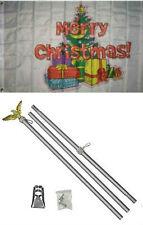 3x5 Merry Christmas Tree Gifts Presents Flag Aluminum Pole Kit Set 3'x5'