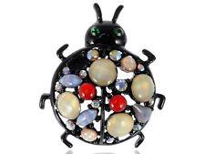 Eye Crystal Black Shimmer Rhinestone Cat Eye Bead Ladybug Beetle Brooch VTG