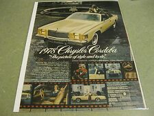 1978 Chrysler Cordoba - Vintage Magazine Ad Page - Car / Automobile Advertising