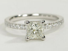 1 CT CLASSIC PRINCESS DIAMOND ENGAGEMENT RING IN 18K WHITE GOLD HALLMARKED