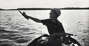 1960s Vintage Young Boy Fishing Boat Lake Outdoors Photo Gravure By EB Henderson