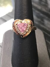 Heart Shaped Ring Set In Gold Toned Sterling Silver With Stunning Pink Stone