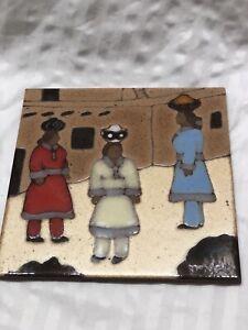 Vintage Mountainair NM Sun Tile Trivets Southwest ~New Mexico Art~ Signed I.A.C.