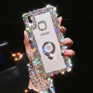 For Samsung Galaxy S21/S21 Plus/ Ultra Bling Ring Holder Stand Case With Lanyard