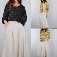 Summer Women Plus Size Vintage Floral Print Tee T Shirt Blouse Short Sleeve Top