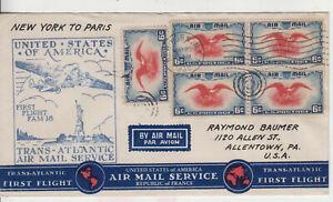 C23 BLOCK 4 CENTER LINE +1 1ST FLT NEW YORK PARIS MAY 29 N1938 AIR SERVICE RCVR
