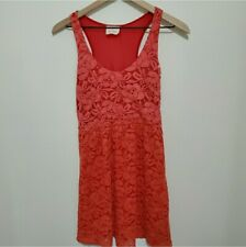 UO Pins & Needles Lace Dress Sheer Orange Pink Ombre Urban Outfitters