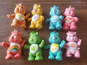 "Vintage 1983 & 84' Care Bear Posable PVC 4"" Figures Lot Of 8 Hong Kong"