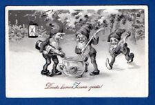 LATVIA LETTLAND happy New Year GNOMES VINTAGE POSTCARD 941