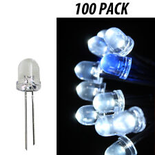 8mm LED Light Emitting Diodes Clear Component White Lights 100 Pack