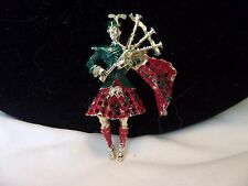Vintage Estate Scottish Bagpiper Red Green Enamel Gold Plate Brooch Pin 1 3/4""