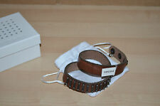Authentic Diesel Biker Steel Leather Brown Bracelet Mens Jewelry