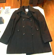 Croft & Barrow Double-Breasted Wool Peacoat Solid Black Princess Seams Pre Owned