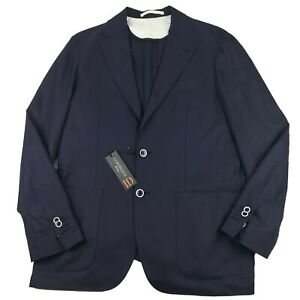 NWT Corneliani ID 40R Cotton Navy Blue Unstructured Sport Coat Dual Vented