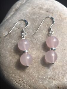 Rose Quartz Gemstone Earrings In Solid 925 Sterling Silver Gift Idea - Free P&P