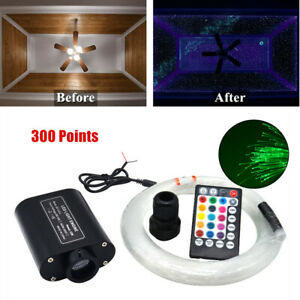 Twinkle RGBW Fiber Optic Star Ceiling Light Kit w/Remote Control 300pcs 2m/6.5ft