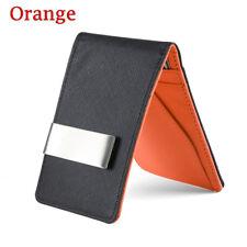 Fashion Men Black Leather Money Clip Slim ID Credit Card Holder Purse Wallet Orange