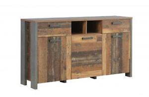 Sideboard 3-türig, 2 Schubkästen CLIF von Forte Old Wood Vintage / Betonoptik