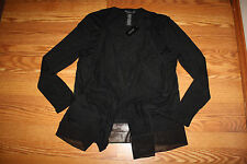 NWT Womens Design History Black Light Weight Drape Front Cardigan XL X-Large