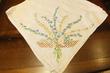 "VINTAGE LINEN TABLECLOTH - HAND EMBROIDERED FLOWERS 35 ""/ 89 cm SQUARE"