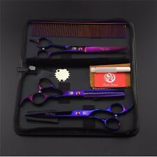 """7"""" Professional Pet Grooming Scissors Set Straight&Thinning&Curved Shears Purple"""