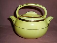 Hall 'TEA MASTER' Twin Spout Double Chamber Bright Yellow Teapot w/ Gold Trim
