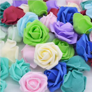 6cm 50PCS Foam Roses Artificial Flower Wedding Bride Bouquet Party Decor DIY