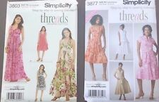 SIMPLICITY PATTERN 3803 halter dress size P5 + 3877 size R5 dress 4 ways