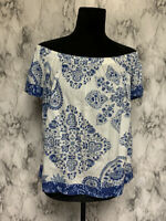 Lucky Brand Size S Off the Shoulder Top Blue & White Floral Blouse
