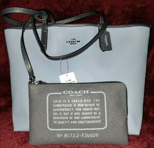 Auth Coach F36609💥NWTD💥Dusk/BrMineral Reversible City Tote with Pouch MSRP$350