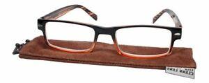 Calabria Jordan 2 Rectangular Designer Reading Glasses 50mm in 60 Colors&Powers