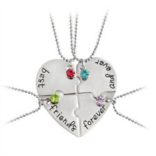 """4PCS Alloy """"Best Friends Forever And Ever"""" Heart Necklaces For Children Necklace"""