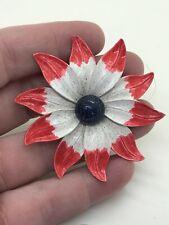 Flower Large Red White Blue Vintage Pin Brooch D-4051