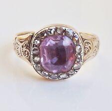 """Splendido antico Georgiano Oro Ametista E Diamante Grappolo Anello c1800 taglia """"Q1/2'"""