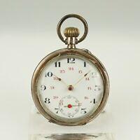 Rar! SILBER Taschenuhr Herren Uhr no spindel duplex chronometer watch armbanduhr
