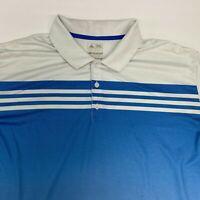 Adidas Climacool Polo Shirt Mens 2XL XXL Short Sleeve White Blue Polyester Blend