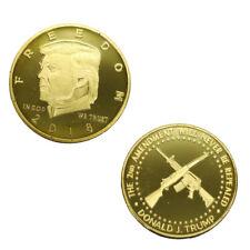 US American Donald Trump 2018 2nd Amendment CROSS GUNS Commemorative Gold Coin