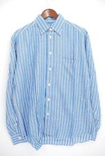 Brioni Linen Hidden Button Down Collar Dress Shirt - Blue Stripe - 15.5 / Large
