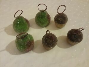 Beaded Pear ornament with beaded Chocolate cup cake ornament 3 of each