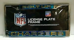 Los Angeles Chargers Silver Laser License Plate Frame