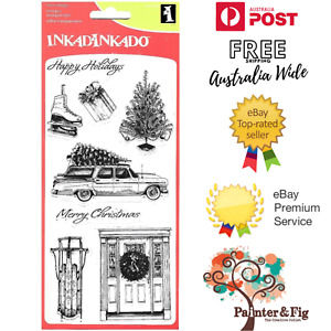 Christmas Stamps, Ice Skates, Toboggan, Door Wreath, Old Car & Tree, Inkadinkado
