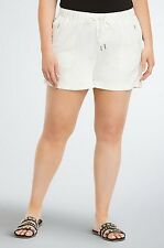 Torrid Women's Linen Shorts 26W 4X White Drawstring Waist Plus Size #VV14