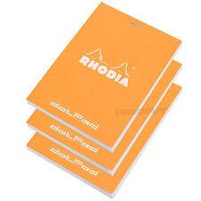 Set of 3 Rhodia Orange A7 dotPad Dot Matrix Grid Note Book Pads Graphic Design