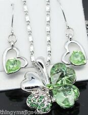 Necklace Earrings Green Crystal 4 Four Leaf Clover Shamrock Jewellery Set Silver