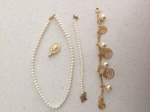 Assorted Fashion Accessory Pearl Look Necklace Wrist Band Bracelet Pendant