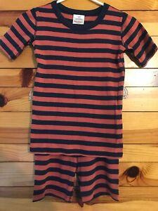 Hanna Andersson Short John Pajama Set Orange & Navy Striped EUC Size 140 10