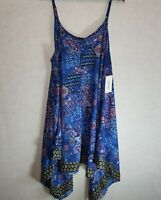 Swimsuits for All Swim Dress Coverup Blue Flowy High Low Spaghetti Strap 18-20